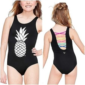 Justice Changing Color Pineapple Swim suit